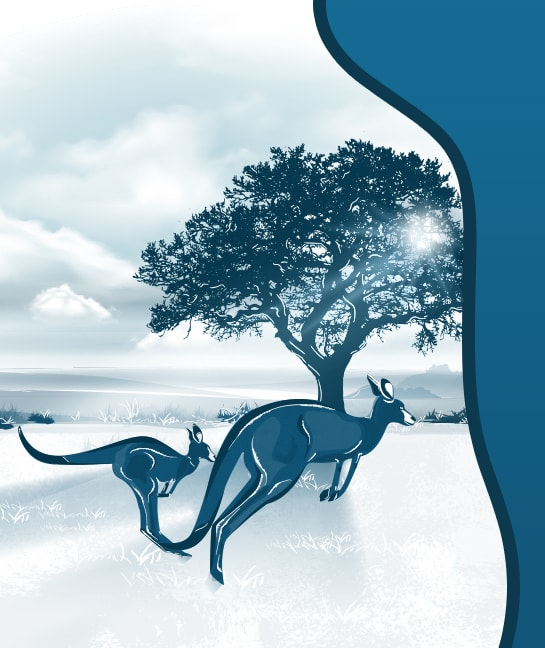 Illustration of kangaroos in front of a tree