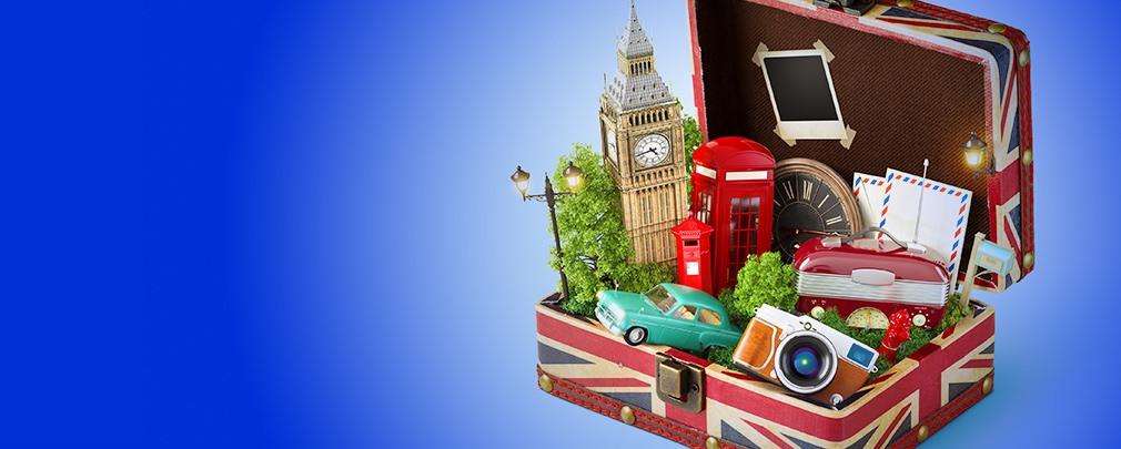 suitcase full of UK memorabilia