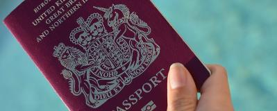 British passport in ladies hand