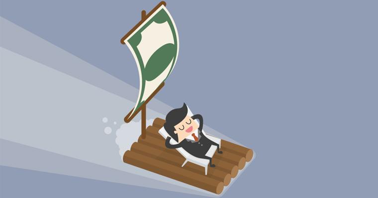 Man on money raft