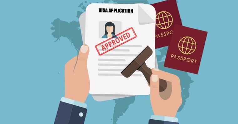 Approved visa application stamp