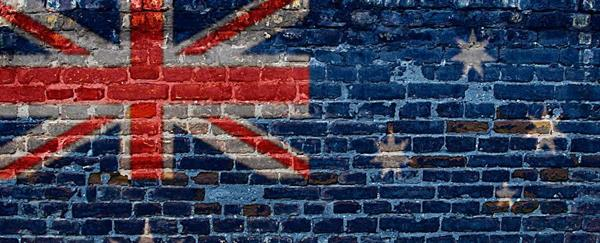 australian flag and brick wall