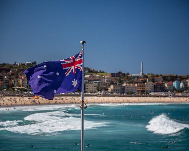 Australian flag by the beach