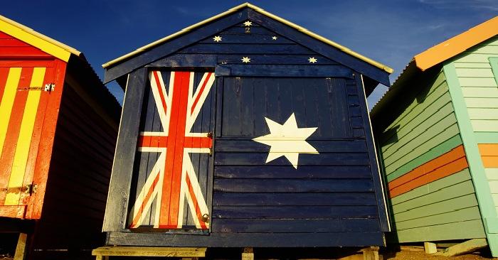 Australian flag on house