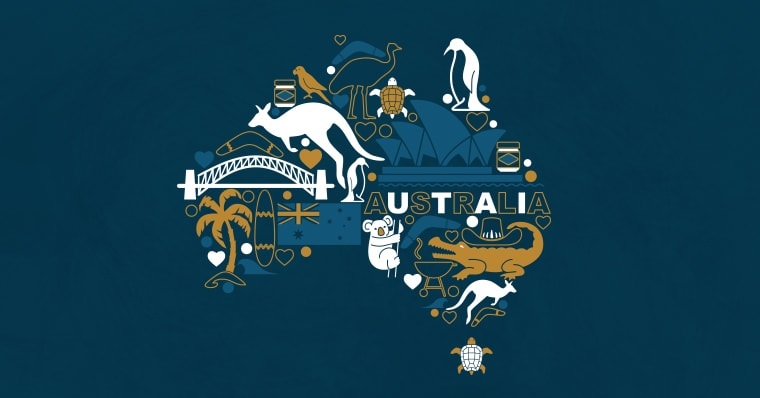 Australia made out of graphic elements