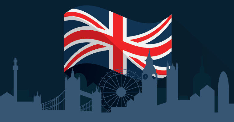 London skyline and British flag