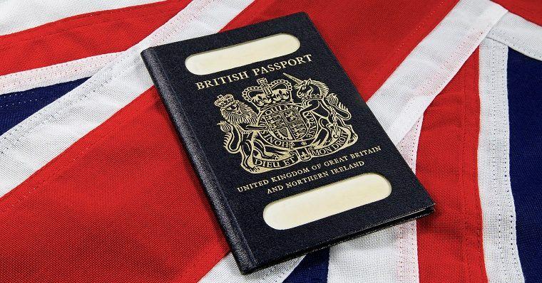 British passport on union jack