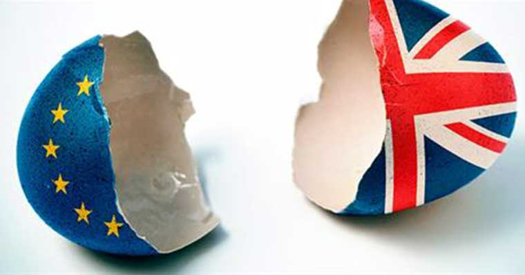 Broken egg shell with Euro and UK flags