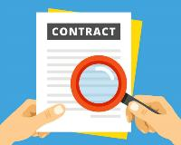 contract inspection two hands blue background