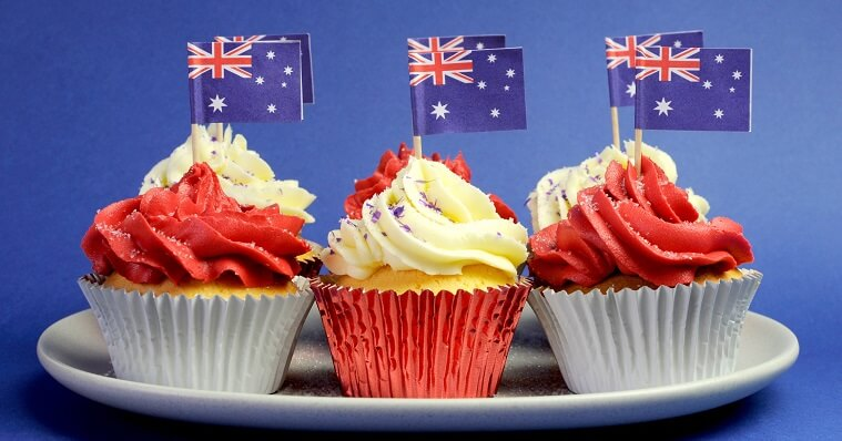 Cupcakes with Australian flag decoration