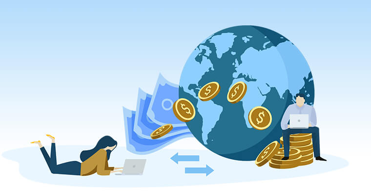 woman using currency solved vector image