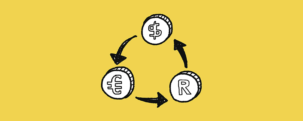recycle symbol with currencies