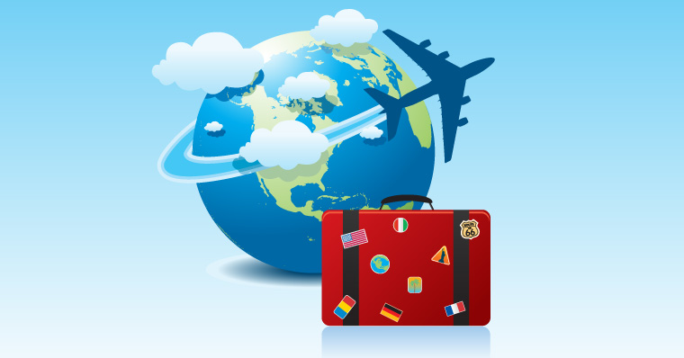 Plane flying across the world