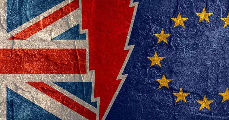 Half EU and UK flags