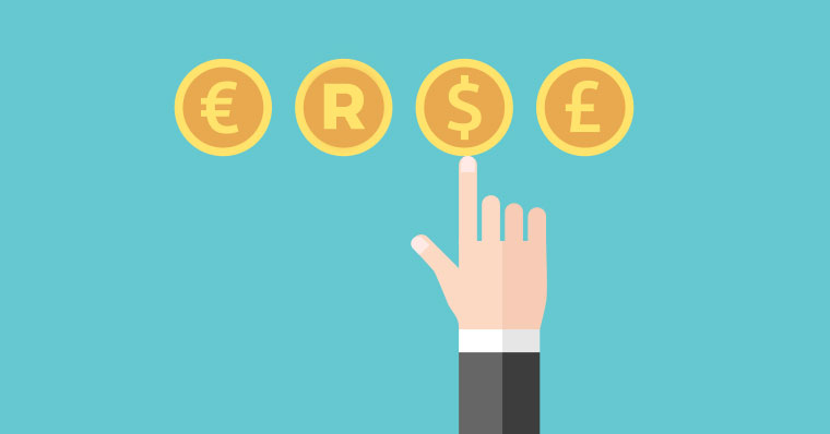 hand pointing towards different currency symbols