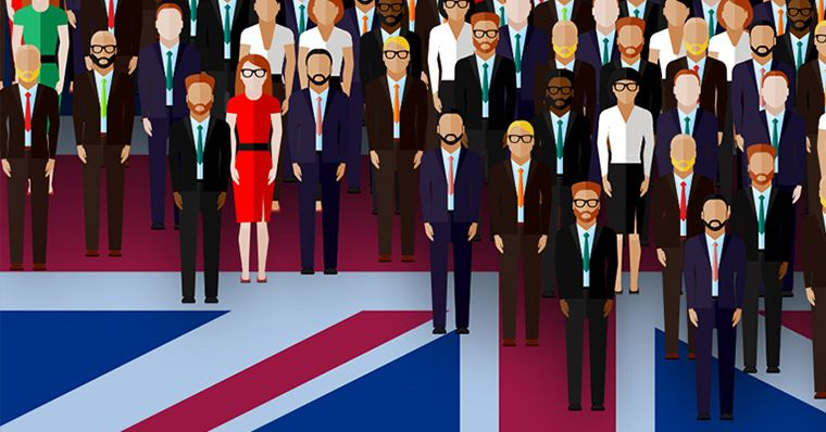 A crowd of people on the UK flag