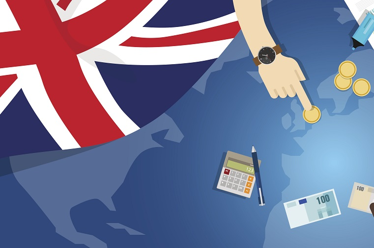 UK flag overlapping cartoon counting money