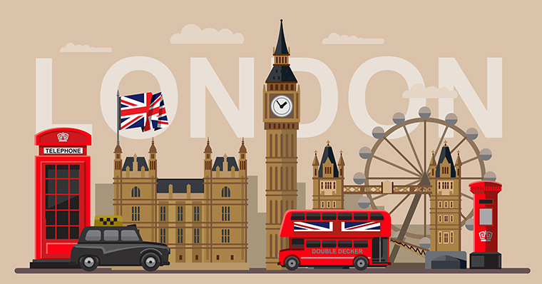 London bus, flag, phone booth and Big Ben