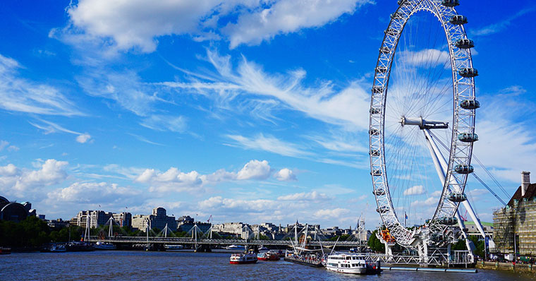 Landscape image with the london eye on the right