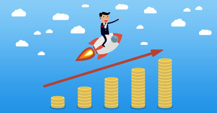 Man on a rocket above money