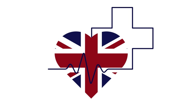 UK flag in the shape of a heart with a medical cross