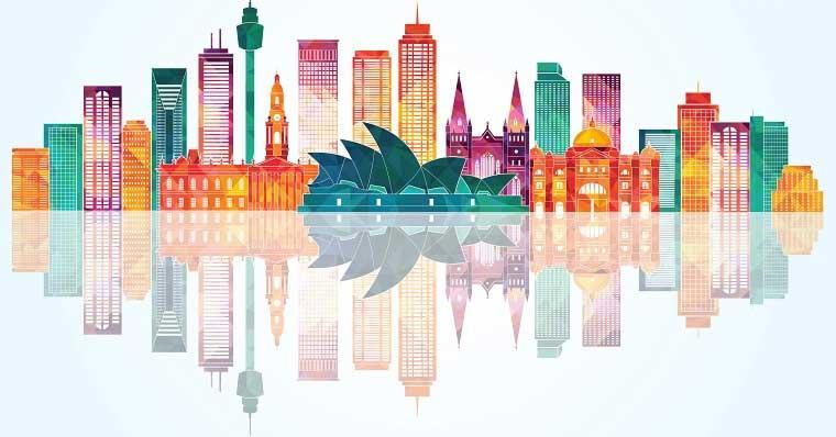 Multicoloured Sydney sky line
