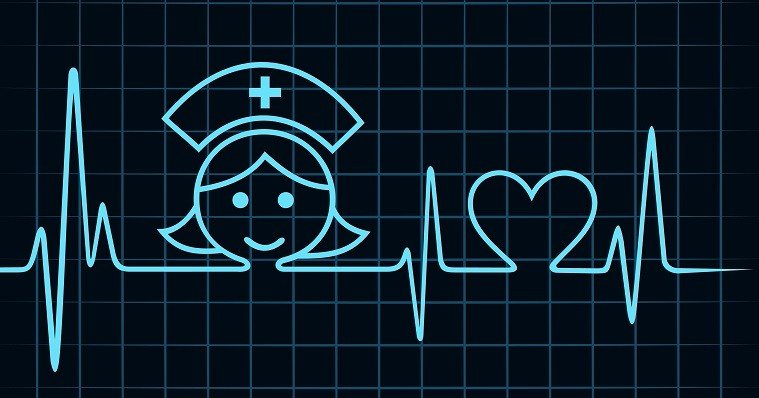 Nurse image on heart monitor