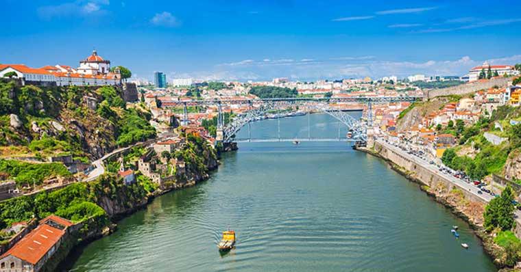 Overlooking a bridge in Porto