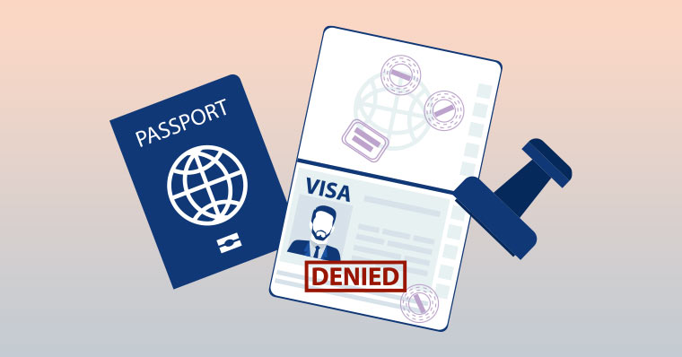 Passport with denied stamp