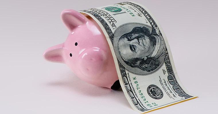 Piggy bank under a dollar blanket