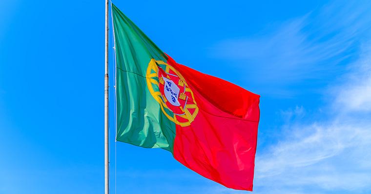 portuguese flag blue sky