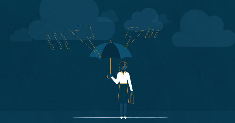 businesswoman with umbrella weathering the storm