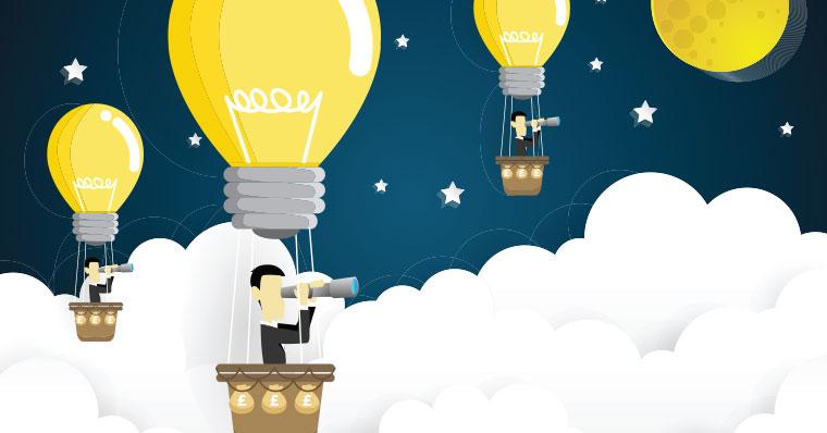 men in hot air balloons with lightbulb balloons