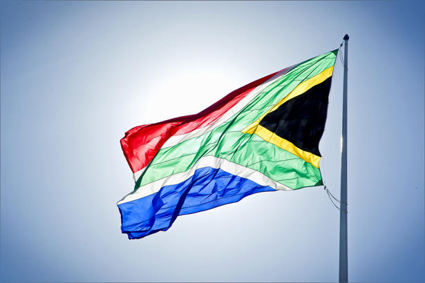 South African flag on pole