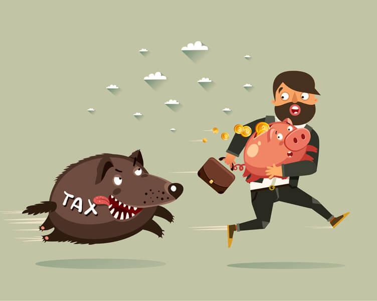 Tax piggy bank man running from tax