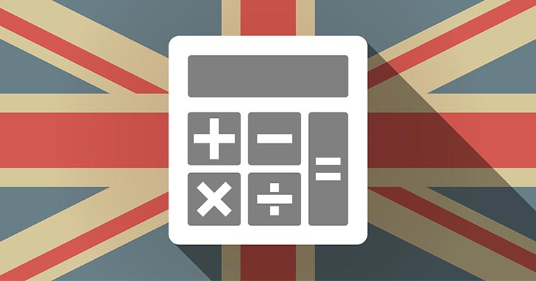 UK flag with calculator
