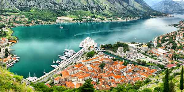 Panoramic view of Kotor bay, Montegro