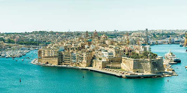 Panoramic view of Valletta in Malta